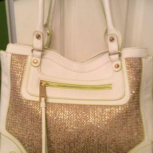 White and lime green handbag
